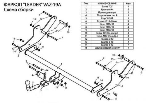 Фаркоп (ТСУ)  для LARGUS (универсал)Лидер-Плюс до 1300 кг артикул VAZ-19AH