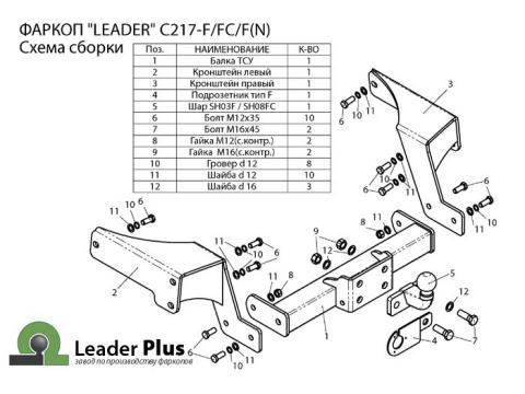 Фаркоп (ТСУ) для CHEVROLET CAPTIVA 2006- ...Лидер-Плюс до 2000 кг артикул C217-F