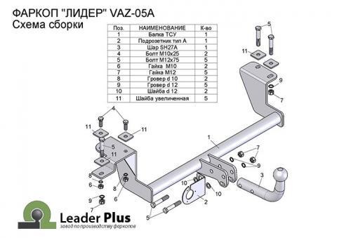Фаркоп (ТСУ) (со съемным шаром) для 2110, 2111, 2112, 2170, 2171, 2172 до н.в.Лидер-Плюс до 900 кг артикул VAZ-05A
