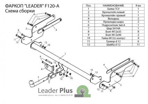 Фаркоп (ТСУ) для FORD KUGA (внедорожник) 2013-... Лидер-Плюс до 1500 кг артикул F120-A