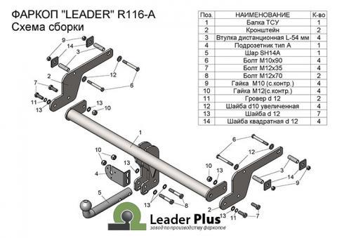 Фаркоп (ТСУ) для RENAULT KAPTUR (2016-...) Лидер-Плюс до 1200 кг артикул R116-A