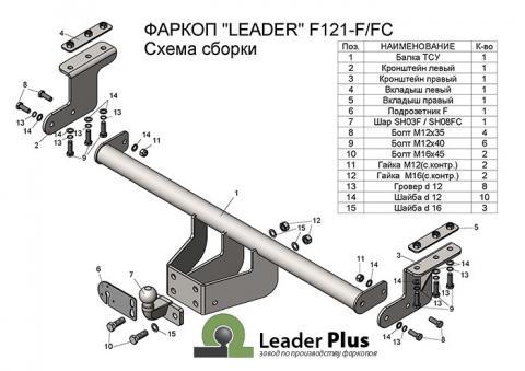 Фаркоп (ТСУ) для FORD RANGER 3 (Limited, Wildtrak) 2011-... Лидер-Плюс до 1200 кг артикул F121-FC