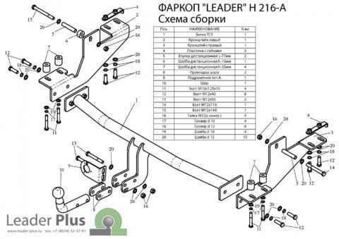 Фаркоп (ТСУ) для HYUNDAI H1 H1,STAREX (минивен) (4WD, задняя пружинная подвеска) 1998-2004 Лидер-Плюс до 1200 кг артикул H216-A