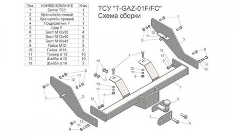 Фаркоп (ТСУ) (со съемным шаром) для 2705 (кроме 4WD без снятия запасного колеса) Лидер-Плюс до 2000 кг артикул GAZ-01FC
