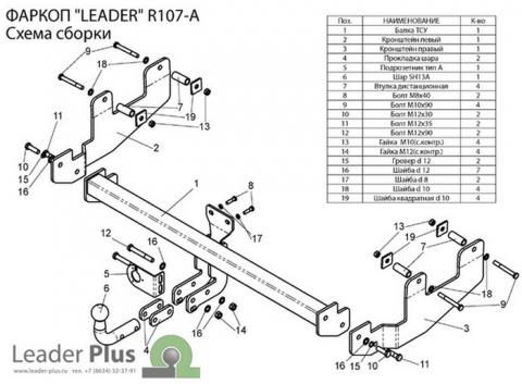 Фаркоп (ТСУ) для RENAULT SANDERO (B90) 2009-2014 Лидер-Плюс до 1200 кг артикул R107-A