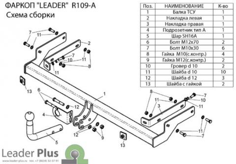 Фаркоп (ТСУ) для RENAULT SYMBOL (седан) 2008-... Лидер-Плюс до 1200 кг артикул R109-A