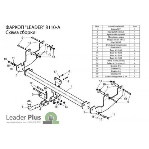 Фаркоп (ТСУ) для RENAULT SANDERO STEPWAY (B90) 2008-2014 Лидер-Плюс до 1200 кг артикул R110-A