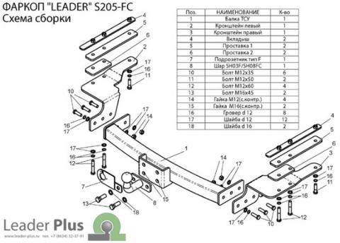 Фаркоп (ТСУ) для SSANG YONG REXTON 1,2 KYRON 2 (DJ) 2007-... Лидер-Плюс до 1200 кг артикул S205-FC