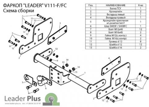 Фаркоп (ТСУ) для VOLKSWAGEN T5 04/2003-... (фургон закрытый) Лидер-Плюс до 1200 кг артикул V111-FC