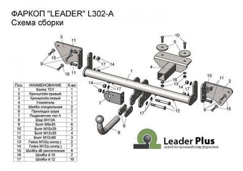 Фаркоп (ТСУ) для LIFAN X50 2015-... Лидер-Плюс до 1500 кг артикул L302-A