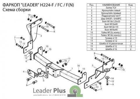 Фаркоп (ТСУ) для HYUNDAI SANTA FE (DM) 2012-.../ KIA SORENTO 4 (XM FL) 2012-... Лидер-Плюс до 2000 кг артикул H224-F