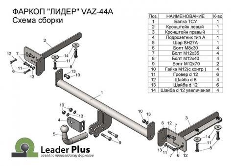 ТСУ для LADA VESTA SW Cross (универсал) 2017 - … г.в.